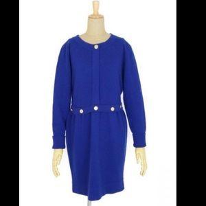 Chanel cashmere blue dress gold buttons